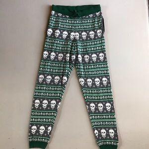Christmas Skull Pajama Bottoms XL Winter PJs